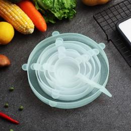 Cubierta Universal de silicona para alimentos de 6 unids/set, tapas elásticas de silicona reutilizables, tapas para utensilios d