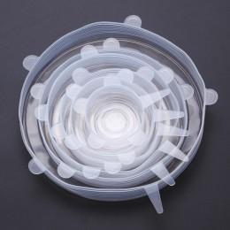 VandHome 6 unids/set funda Universal de silicona para alimentos tapas de silicona reutilizables tapas elásticas para utensilios