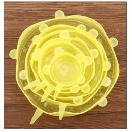 6 unids/set tapas elásticas de silicona reutilizables tapa universal recipiente de silicona para envolver alimentos tapa de sili