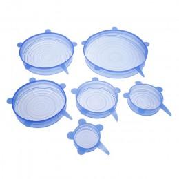 Anpro 6 uds Universal reutilizable tapas elásticas de silicona envoltura de alimentos cubierta de silicona para utensilios de co
