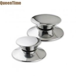 QueenTime 2 unids/set TAPA DE REPUESTO pomos de acero inoxidable manija de tapa para ollas de plata duradera Wok tapas agarre ac