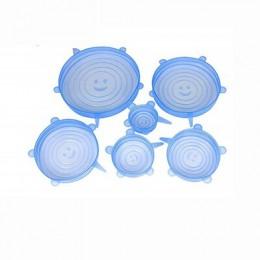 6 piezas tapas de silicona para alimentos de silicona tapones para comida Universal de silicona elástico tapas y Bowl cubre mant