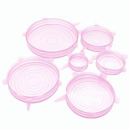 HOOMIN 6 uds tapas elásticas de silicona sartén recipiente de cocina tapa cubierta reutilizable de silicona envoltura de aliment