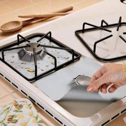 4 Uds. Papel de aluminio reutilizable estufa de Gas quemador cubierta Protector forro alfombrilla de limpieza Archivo de protecc