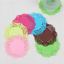 Posavasos de flores de encaje forma de fruta cojín de silicona almohadilla de aislamiento deslizante almohadilla de la taza almo