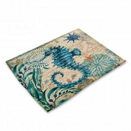Juego de 2/4/6 piezas de Miracille, manteles de mesa de lino de algodón, manteles decorativos con patrón de pulpo tortuga marina