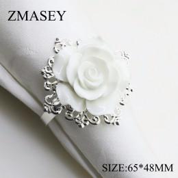 (68666-Anillo de hierro) 65*48mm 4 uds/6 uds anillo servilletero rosa de resina blanca para la decoración de la Mesa de boda, ní