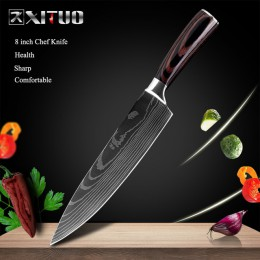 "XITUO 8 ""pulgadas cuchillos de cocina japoneses láser Damasco patrón chef cuchillo afilado Santoku cuchilla rebanadora herramien"