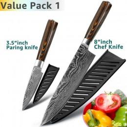 Cuchillo de cocina 8 pulgadas cuchillos de Chef japoneses 7CR17 440C alto carbono Acero inoxidable Damasco dibujo Utility juego