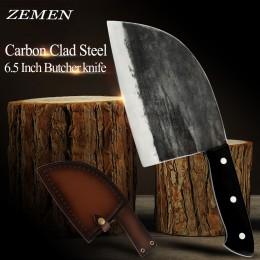 Cuchillo de carnicero ZEMEN de acero revestido de alto carbono cuchillo de corte hecho a mano forjado chino cuchilla con mango c