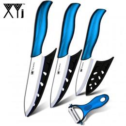 """Cuchillo de cerámica 3 """"corte 4"""" utility 5 """"cuchillo rebanador con un mango azul + pelador balde blanco herramientas de cocina j"""