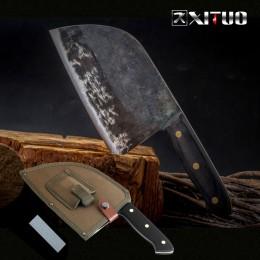 XITUO completo Tang Chef cuchillo hecho a mano forjado de acero revestido de alto carbono cuchillos de cocina cuchillo de cuchil