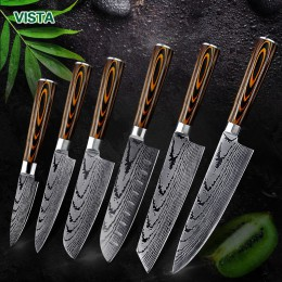 Cuchillo de cocina cuchillos de Chef japonés 7CR17 440C alto carbono Acero inoxidable imitación Damasco lijado cuchillo láser