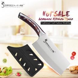 SOWOLL marca 4cr14mov cuchillos de cocina de acero inoxidable cuchillo de cocina de 7 pulgadas cuchillo de cocina de fibra de re