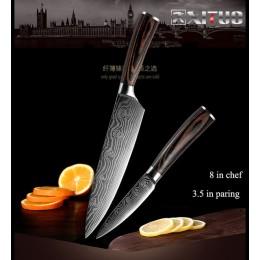 XITUO 5 uds juego de cuchillos de cocina cuchillas de acero inoxidable Damasco láser juego de cuchillos chef Santoku Utility her