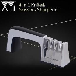 Afilador de cuchillos XYj 4 en 1 con revestimiento de diamante y tijeras de cuchillo de varilla de cerámica fina y sistema de af