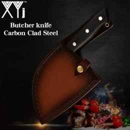 XYj hecho a mano forjado chino cuchillo de cocina de alta carbono acero Chef cuchillos hueso Chopper mango completo Tang cuchill