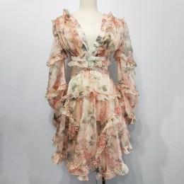 TWOTWINSTYLE Sexy vestido estampado de gasa para mujer cuello en V ahueca hacia fuera la manga de la linterna de cintura alta Mi