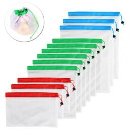 12 Uds 3 tamaños malla reutilizable producir bolsa lavable bolsos ecológicos para bolsa de supermercado titular de fruta vegetal