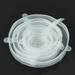 6 unids/set reutilizable alimentos de silicona Wrap Stretch de sello de vacío cubierta Saran Wrap cocina organización comida fre
