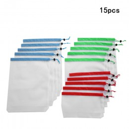 15 Uds malla reutilizable bolsas de producción bolsas lavables para el almacenamiento de la compra de frutas verduras juguetes d