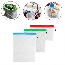 Malla reutilizable bolsa de producción ecológica bolsas para la compra de comestibles frutas vegetales bolsas para almacenamient