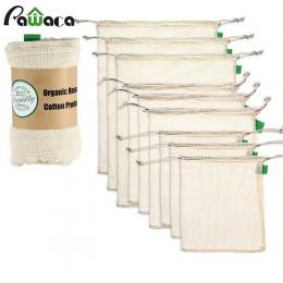 9 unids/set bolsas de malla de algodón orgánico de alta calidad reutilizable lavable bolsa con cordón para compras, comestibles,