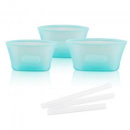 3 uds. Contenedores de almacenamiento de alimentos de silicona tazón fresco organizador para nevera reutilizable bolsa de cierre