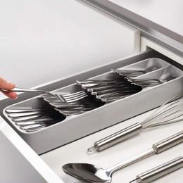 Práctico cajón organizador bandeja cuchara cubertería separación acabado caja de almacenamiento cubiertos accesorios de organiza