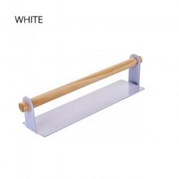 De Metal colgando de la pared, soporte, soporte de madera estante de la toalla de baño organizador papel de trapo de envoltura d