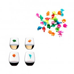 Marcador para vaso de vino de animales marinos de silicona de 12 Uds.