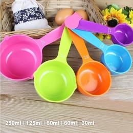 5 unids/set cucharas de medición de plástico colorido cuchara de medir pastel de azúcar útil cuchara para hornear utensilios de