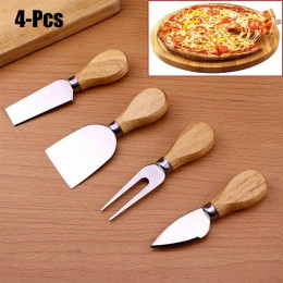 4 unids/set cuchillos de queso mango de madera cuchillo de queso rebanador Kit cocina herramienta para hornear queso cortador ac