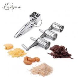 LMETJMA 3 tambores Set rallador rotatorio para queso de acero inoxidable rebanador de queso de cocina cortador de mantequilla ch