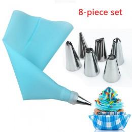 Conjunto de herramientas para pasteles de 8 piezas 6 boquillas de acero inoxidable y bolsa de repostería EVA de silicona convert