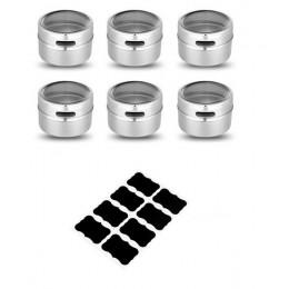 LMETJMA latas de especias magnéticas de acero inoxidable tarro de especias con pegatinas juego de sal y pimienta sazonadores KC0