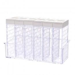 6 uds. Nuevo tarro de especias de cocina caja de condimento botella de almacenamiento de especias de cocina tarros transparentes