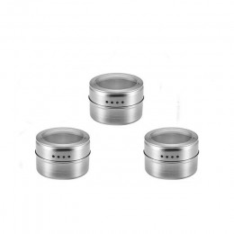 Magnético tarro de especias con pegatinas de acero inoxidable especias latas de contenedor de almacenamiento de condimento espec