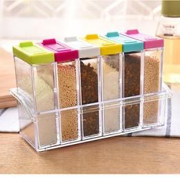 1 Uds. Tarro de especias transparente conjunto de botella de condimento de sal y pimienta tapa colorida recipiente de almacenami