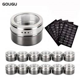 Ougu bote para especias magnético con pegatinas de acero inoxidable latas de especias pimienta sazonador herramientas