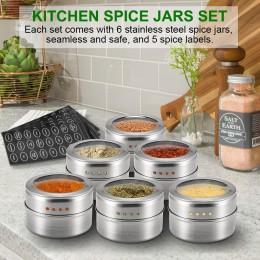 6 uds bote para especias magnético pegatinas soporte de sal caja coctelera para especias latas contenedor pimienta Spray cocina