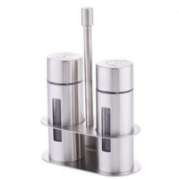 Ricino de acero inoxidable salero conjunto de especias sin olor con soporte caja de condimentos de cocina botella herramientas d