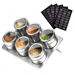 LMETJMA tarros de especias magnéticos con estante de especias 304 latas de especias de acero inoxidable tarro de almacenamiento