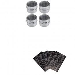 Tarros de especias magnéticos de acero inoxidable Set de latas con tapa transparente etiquetas tarros de especias magnéticas org