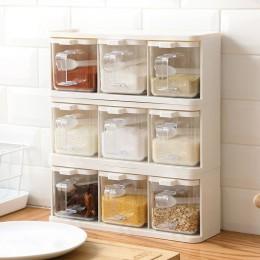 Estante de especias 3 rejillas cuchara cocina con tapa contenedor caja de condimento hierba especias almacenamiento recipiente d
