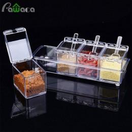 4 unids/set estante de condimento transparente recipientes para especias almacenamiento contenedor condimento tarros Cruet con c
