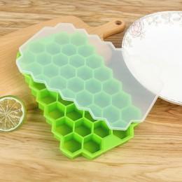 Bandeja de cubo de hielo de panal libre de BPA 37 cubos de silicona molde para hacer cubos de hielo con tapas para la fiesta de