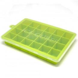 5 colores 24 rejillas de silicona cubito de hielo con tapa bandeja de cavidad ecológica cubitos de hielo pequeño molde para frut