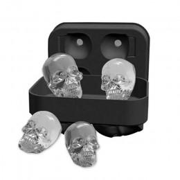 Bandeja para hacer cubitos de hielo 3D cráneo molde de silicona forma de diamante 4 cavidades DIY máquina de hielo uso doméstico