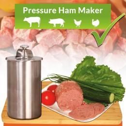 Maceta de acero inoxidable para hacer carne de jamon con un termómetro, herramienta para cocinar carne, olla para hacer jamones